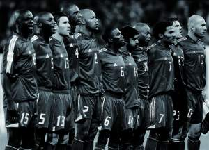 The French national soccer team listen his national anthem prior his team's World Cup 2006, Group four, qualifying match at the Stade de Suisse Wankdorf stadium in Berne, Switzerland, October 08, 2005. The match ended in a 1-1 d raw.