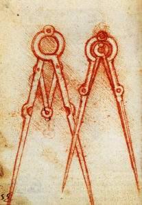 Leonard de Vinci, compas, Manuscrit H, 1493-1494 Institut de France