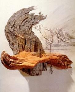 Charles Simonds paysage, technique mixte sur bois