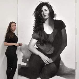 Clio Newton dans son atelier 2015