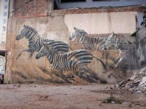 Faith 47, Zebres dans la ville, 20 15, Johannesburg Afrique du Sud