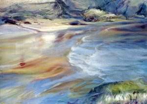 Ewa Karpinska, 2003, reflux Belle-Ile en Mer, aquarelle, 73x54