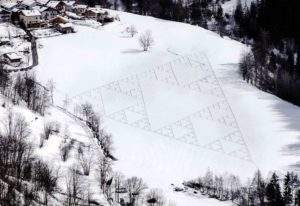 Simon Beck, 2013, composition fractale sur neige