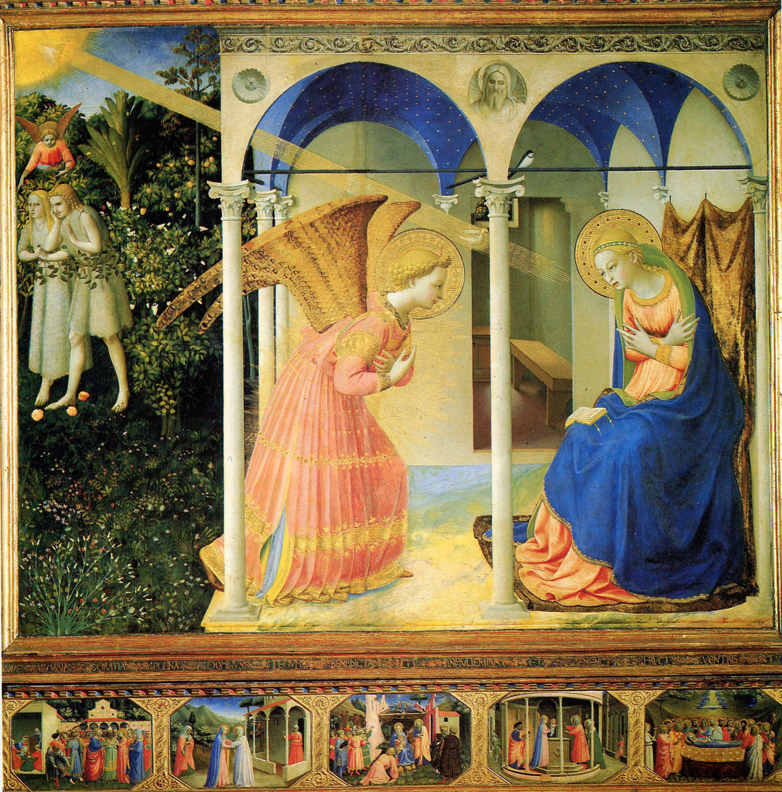 Fra Angelico, annonciation, vers 1430, det rempe sur bois, 194x194, Prado, Madrid