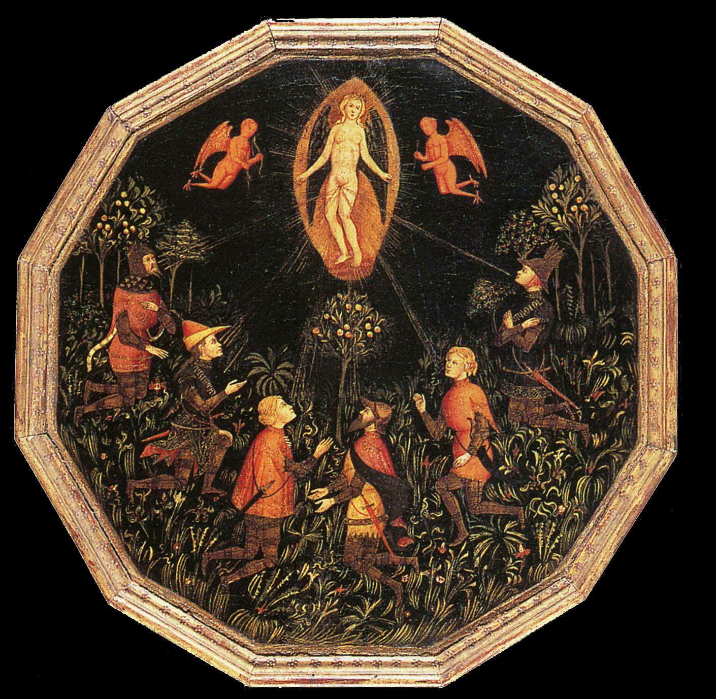 Anonyme Florentin, Vénus vénérée par six amoureux, v 1400, 51 diamètre, Louvre
