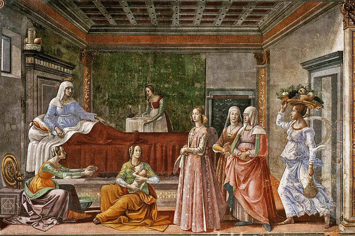 Domenico Ghirlandaio, naissance de saint jean-baptiste, Fesque, 1485-90, Choeur de Ste Marie Nouvelle, Florence