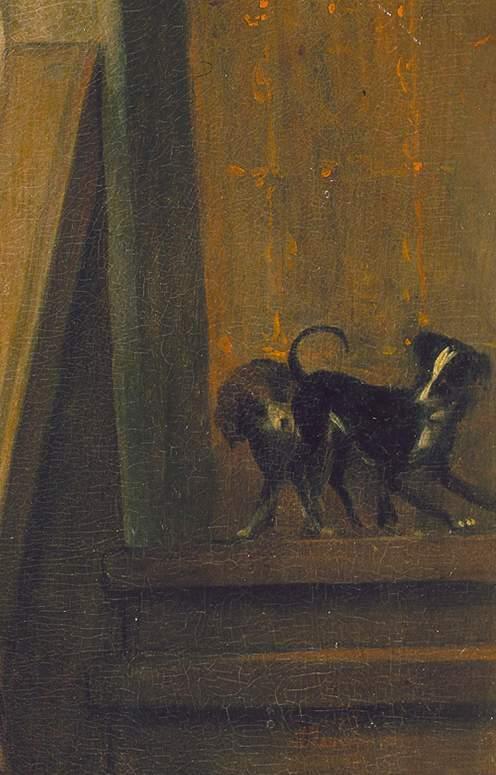 Jan Steen, la visite du docteur, 1660-1662, hb 60x48, Mauritshuis La Haye , Détail