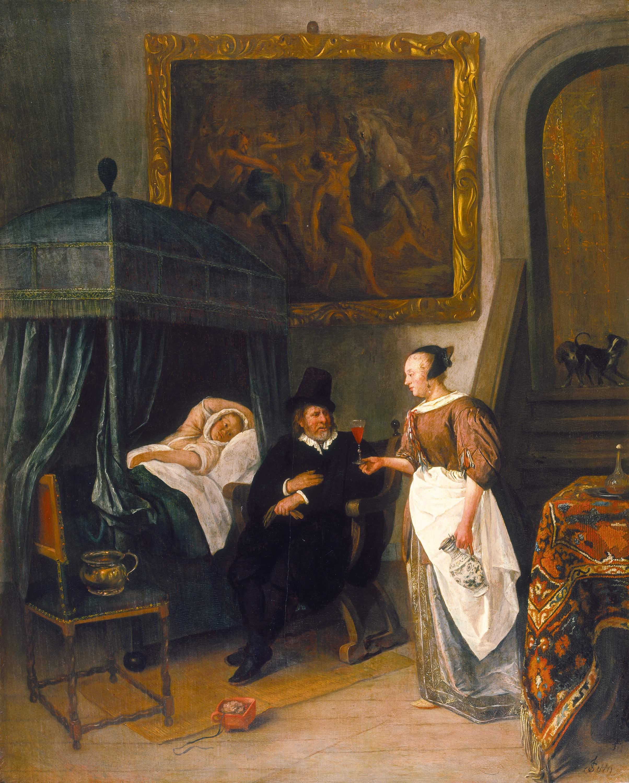 Jan Steen, la visite du docteur, 1660-1662, hb 60x48 Mauritshuis, La Haye