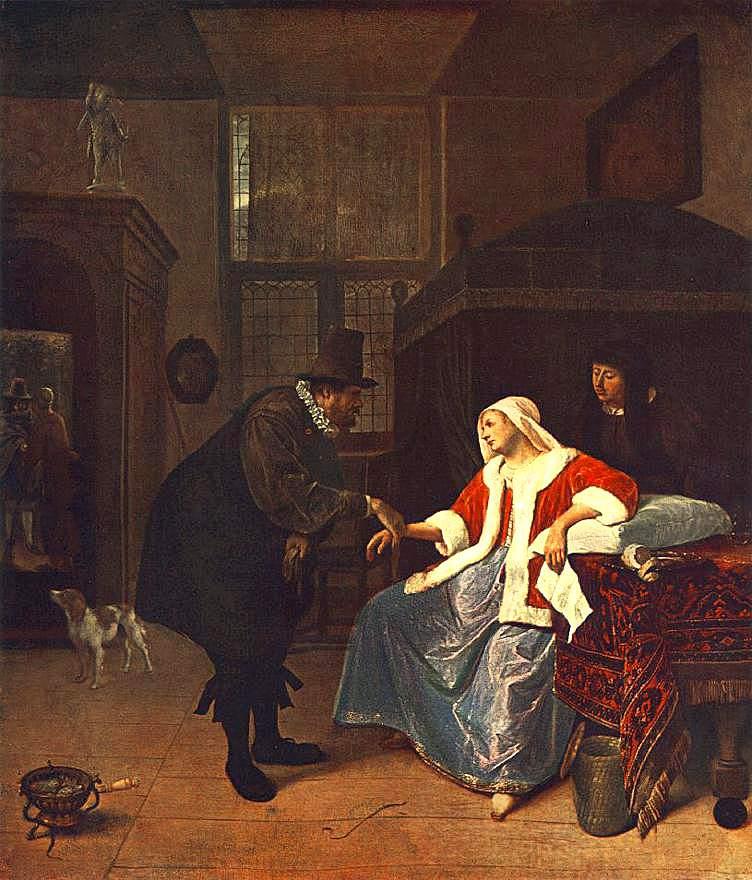 Jan Steen, la visite du docteur, 1660, ht 61x52 AP Munich