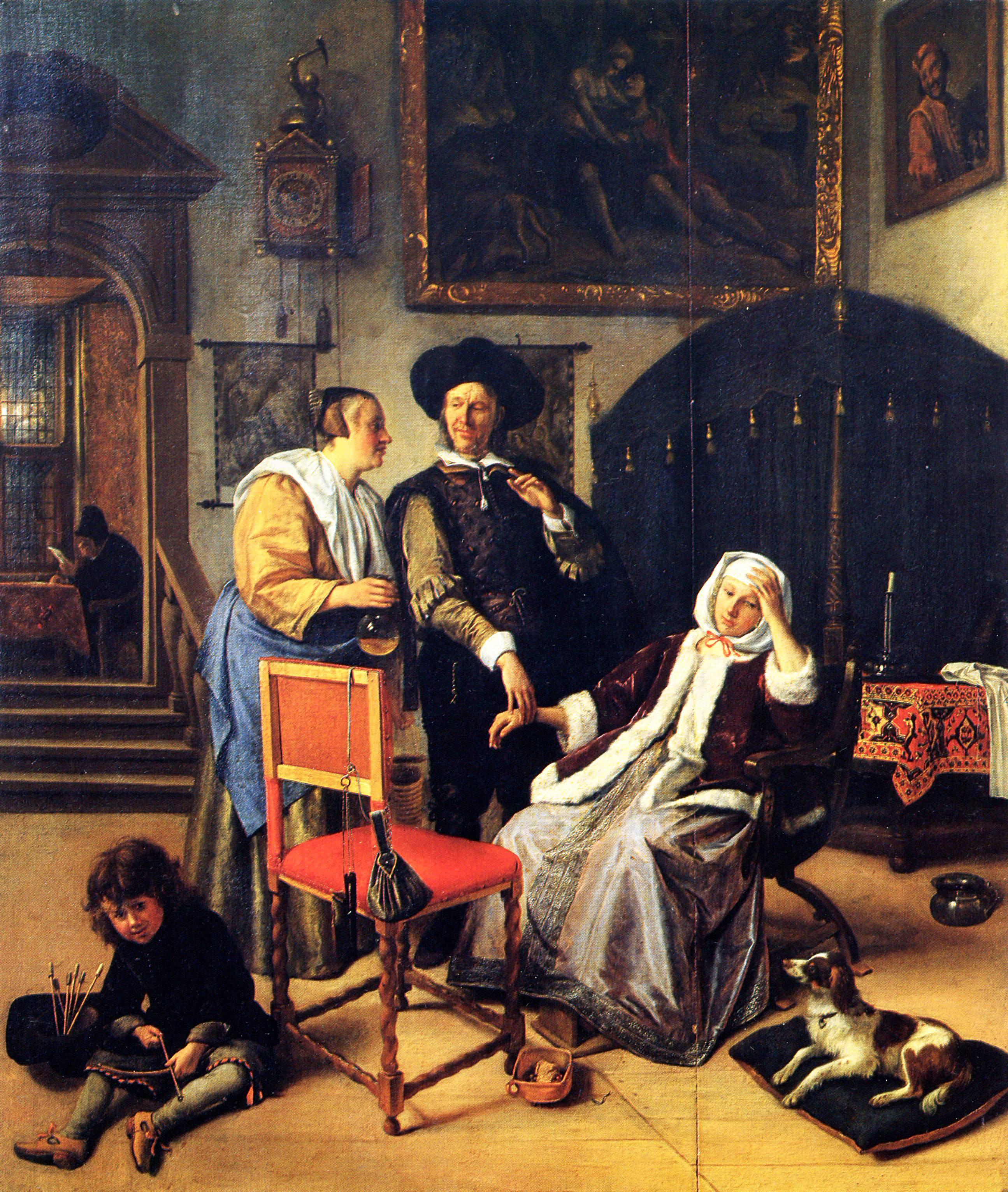 Jan Steen,1661-62 la visite du docteur, 1661-1662, hb 47x41 Victoria et Albert Museum Londres