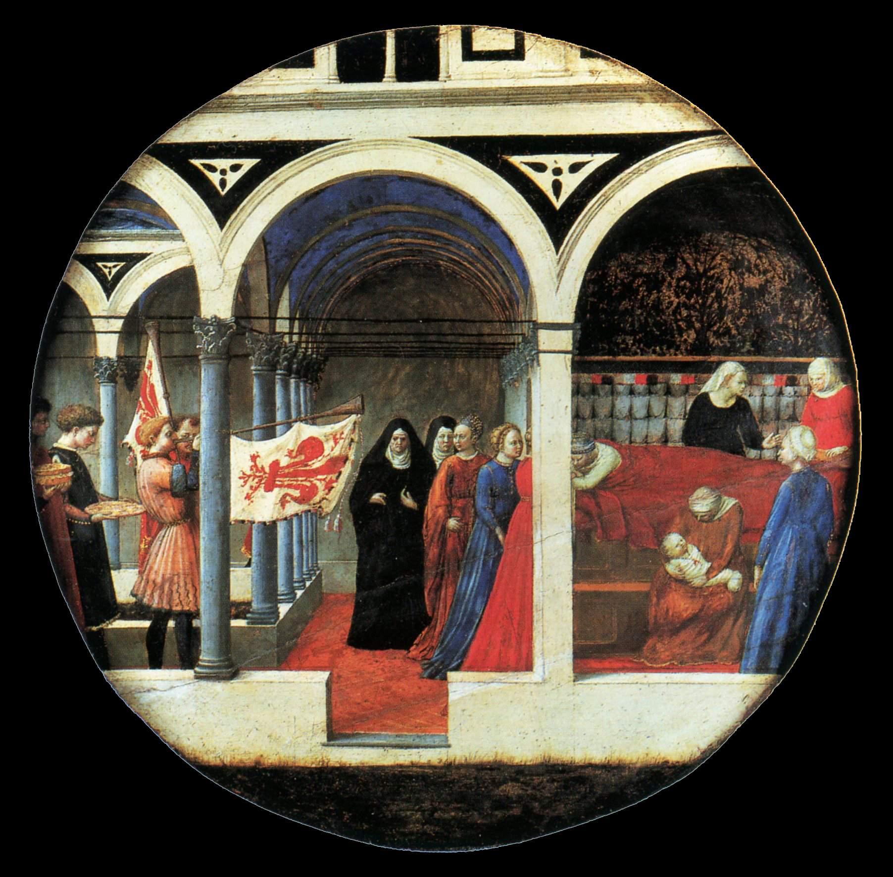 Masaccio, plateau d'accouchée, v1420 peuplier 56cm GG Berlin - Copie