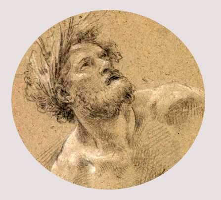 Simon Vouet, etude pour le temps vaincu, 1 643, craie noire craie blanche, détail