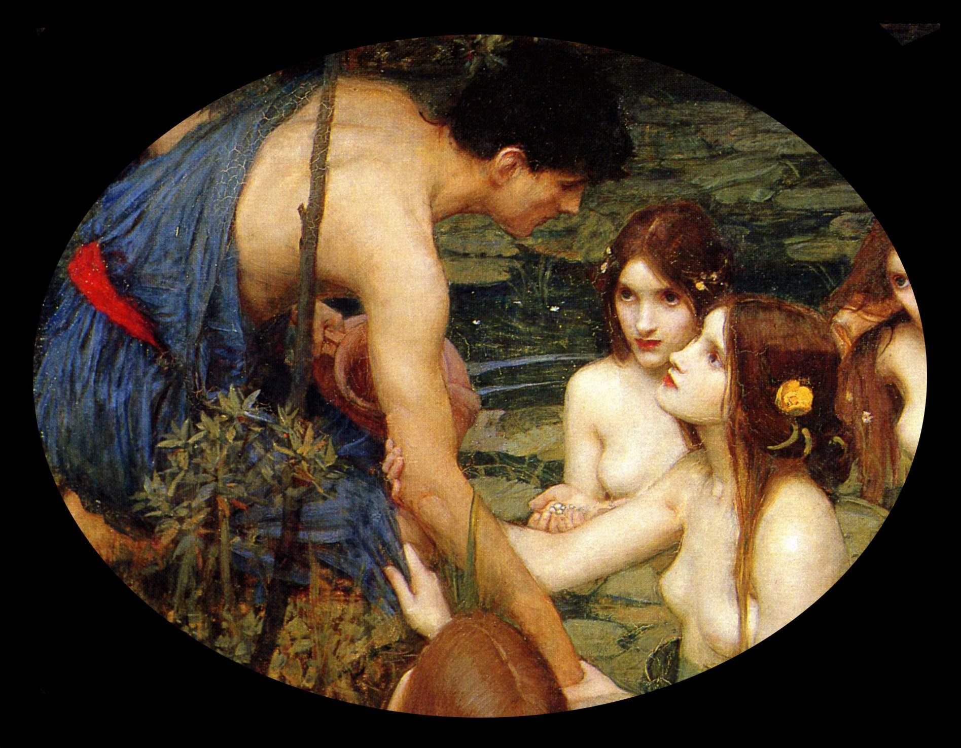 Waterhouse, Hylas et les nymphes, 1896, détail
