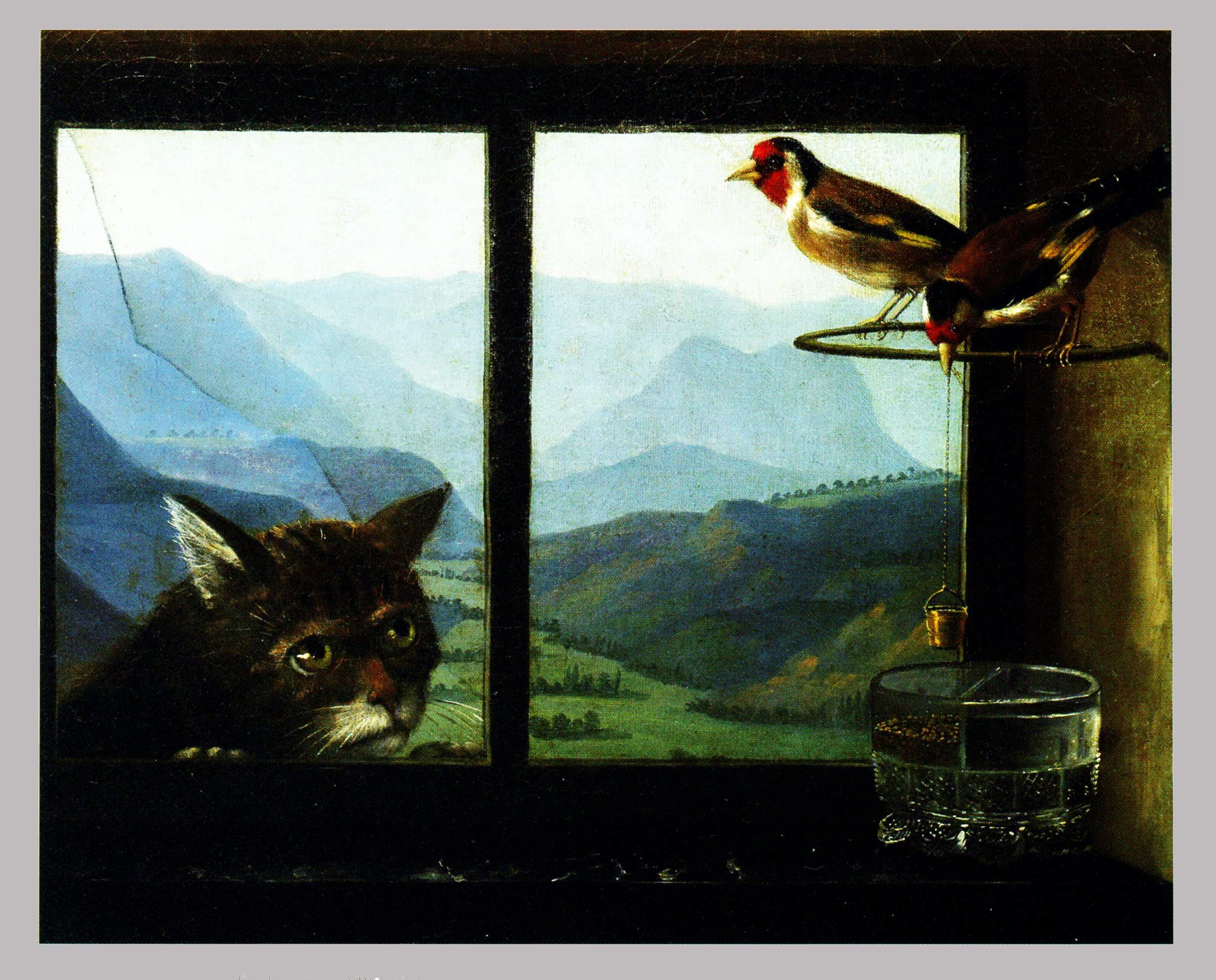 Anonyme suisse, XIXeme siecle, le chat et les chardonnerets, ht 37x46, MBA Rouen