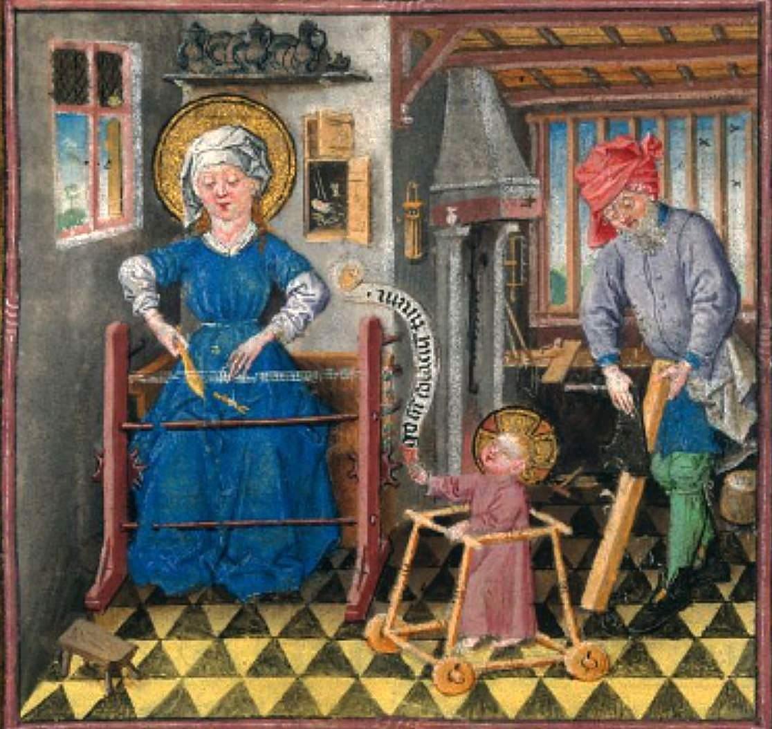 Livre d'heures de Catherine dde Cleves, la Sai nte Famille, v 1440, manuscrit, BNF, Paris