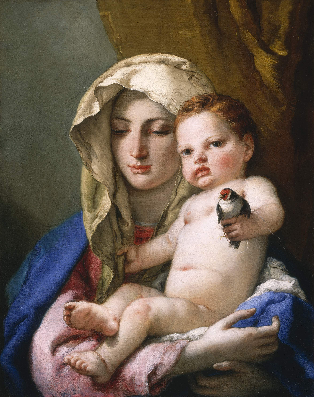 Tiepolo GB 1696-1770, madonne au chardonneret, 1760, ht 63x50, NGA Washington
